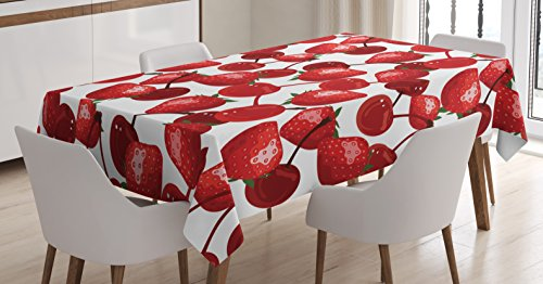 Red Decor Tablecloth by Ambesonne, Strawberries Cherries Spring Fruits for Kitchen and Picnic Image, Dining Room Kitchen Rectangular Table Cover, 52 W X 70 L Inches, Burgundy Green and White