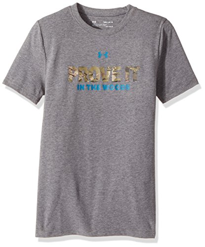 (Under Armour Boys' Prove it in the Woods T-Shirt,Charcoal Light Heath (019), Youth Medium)