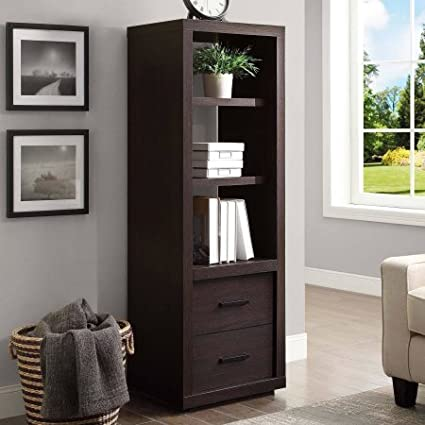 Tall Bookcase With Bottom Drawer, Adjustable Shelf, Espresso Finish,  Contemporary Style, Perfect
