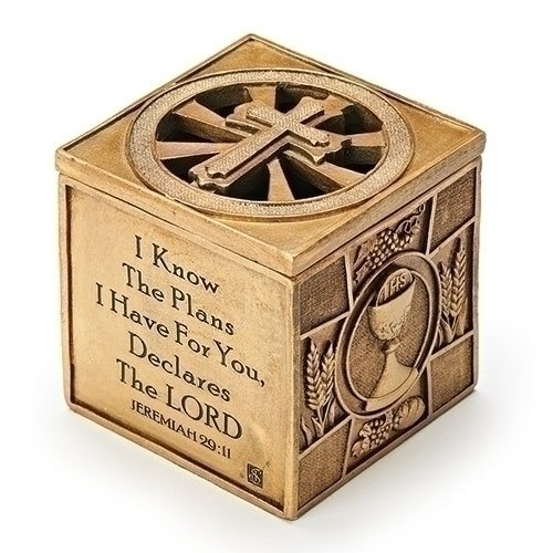 I Know the Plans I Have For You Jeremiah 29:11 3.5 x 3.5 Inch Bronze Sacrament Keepsake Box -