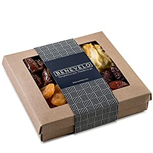 Gourmet Gift Tray, Dried Fruit Platter Featuring Turkish Apricots, Pears, Pitted Dates, and Angelino Plums, In Beautiful 1 POUND Gift Box By Benevelo Gifts