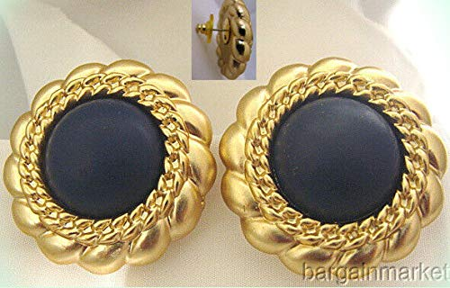 - Scalloped Edge Lucite Blue Button Style Light Weight Post Pierced Earrings For Women
