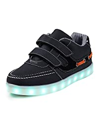 SAGUARO Boy and Girl's Glow Up Walking Sneaker Hook and Loop Boat Light Up Shoe(Toddler/Little Kid)