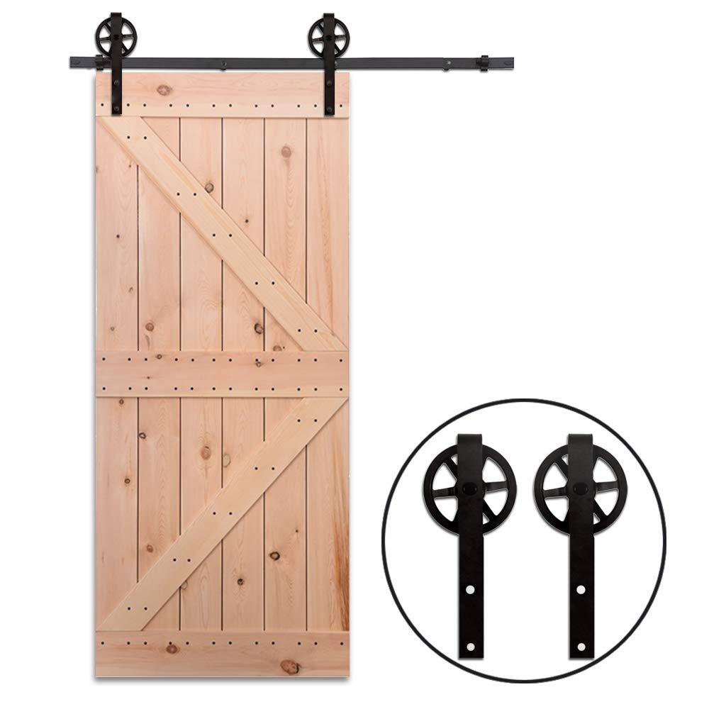 9FT//274cm Sliding Barn Wood Door Hardware Closet Track Kit Single door Portes coulissantes Mat/ériel Trousse Unique patin /à roulettes