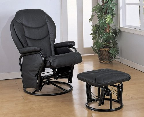 Black Leatherette Cushion Glider Rocker Chair w/Ottoman
