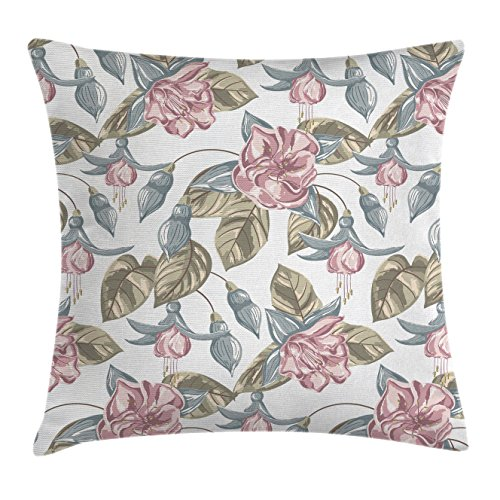 Vintage Floral Throw Pillow Cushion Cover by Ambesonne, Classic Soft Toned Shabby Chic Bouquet Petal Nature Design, Decorative Square Accent Pillow Case, 18 X 18 Inches, Slate Blue Reseda Green Pink