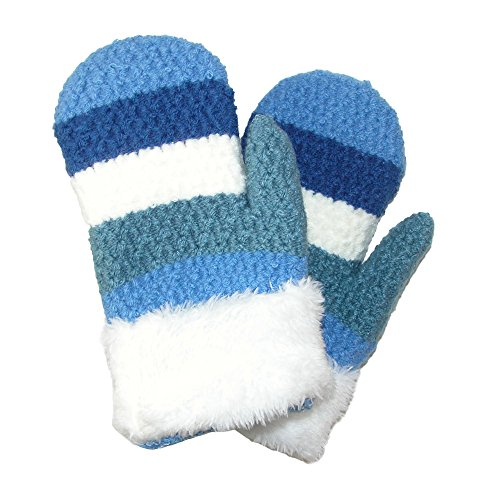 CTM Toddlers' Mittens with Cuff, Striped Blue ()