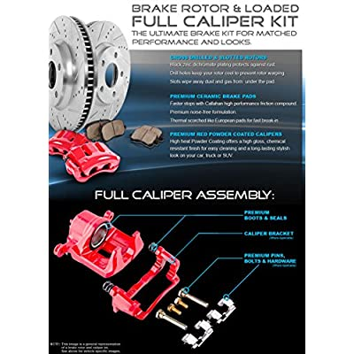 CCK12412 REAR Powder Coated Red [2] Remanufactured Calipers + [2] 6 Lug Rotors + Quiet Low Dust [4] Ceramic Brake Pads: Automotive