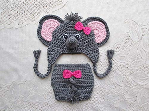Jeffery Jr the Elephant Hat and Diaper Cover Baby Set PDF Crochet ... | 375x500