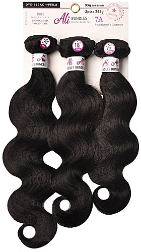 "Price comparison product image [7A Grade Unprocessed Virgin Brazilian Hair] Aliexpress Brazilian Hair 3 Bundles Body Wave -3 Bundles 285 gram in 1 Pack Solution (18""+20""+22""-Natural Black)"