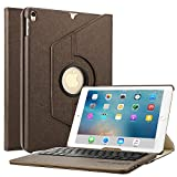 Boriyuan iPad Case with Keyboard for iPad Air 2019(3rd Generation) 10.5'/iPad Pro 10.5' 2017,360 Degree Rotating Stand PU Leather Smart Cover with Detachable Wireless Keyboard for iPad 10.5'-Brown