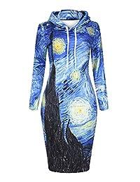 QZUnique Women's Digital Print Pullover Hoodie Long Length Fleece Sweat Dress