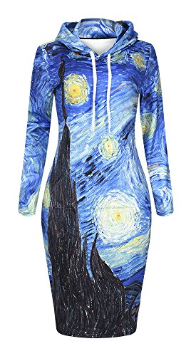 QZUnique Women's 3D Starry Night Print Pullover Hoodie Long Length Fleece Sweat Dress US L-XL