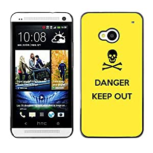 KOKO CASE / HTC One M7 / señal de peligro símbolo cráneo negro amarillo / Delgado Negro Plástico caso cubierta Shell Armor Funda Case Cover