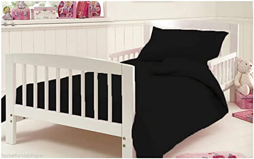 Black Flannelette Fitted Sheet for Cot Bed Thermal Toddler Baby Bed 100/% Egyptian Cotton Bedding 120 x 140 cm Approximately