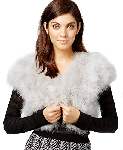 INC International Concepts Marabou Bolero Shrug Grey, One size