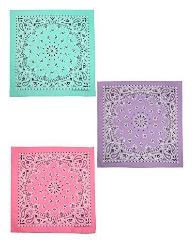 CTM Women's Cotton Pastel Paisley Print Bandana Kit (Pack of 3), Mint, Lavender, -