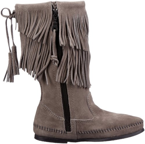 Boot Grau Layer Women's 2 Calf Hi Fringe Minnetonka qUwY0f8