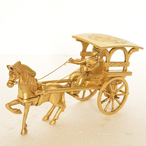 ge Horse Cart - Desk Showpiece / Metal decorative gift with Wheel Pull Figurine Statue (Vintage Horse Figurines)