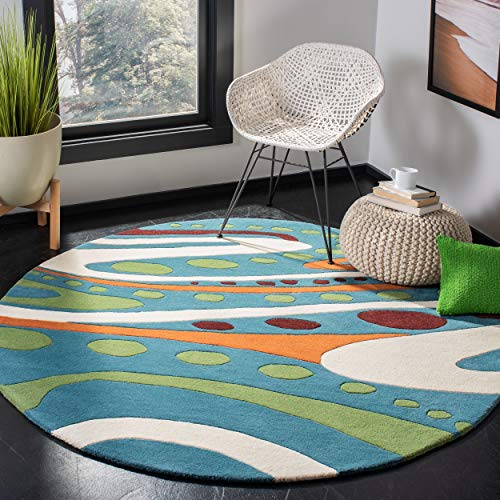 Safavieh Soho Collection SOH856A Handmade Abstract Teal and Multi Premium Wool Round Area Rug (6' Diameter)