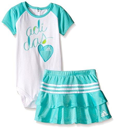(Adidas Baby Girls' Bodysuit and Skirt Set, White/Blue, 24 Months)