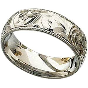 Mens Hand Engraved Platinum Wedding Band