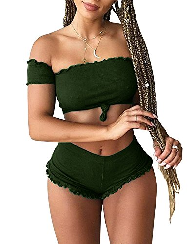 Sexy Military Outfit (Women's Ruffles Lace 2 Pieces Outfit Off Shoulder Crop Top+Shorts Set Rompers Army Green S)