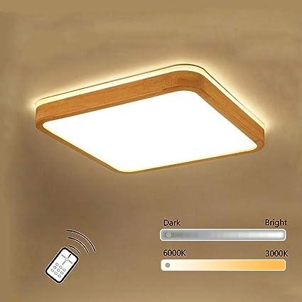 Wandun Lámpara LED de Techo, De madera Cuadrado Plafon de Techo Lámpara moderno Interior Iluminación para Habitación Dormitorio, Salón, Hotel Plafon ...