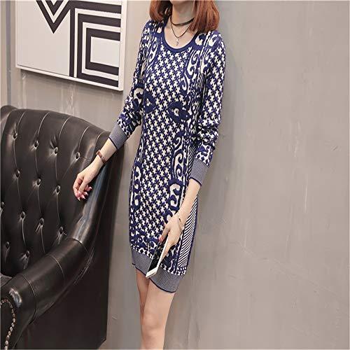 Jacquard Long Femmes Knitwear Shirloy Bleu Loose Pull Jacket Long Sexy Large Sleeve Glamour Z4qqdn