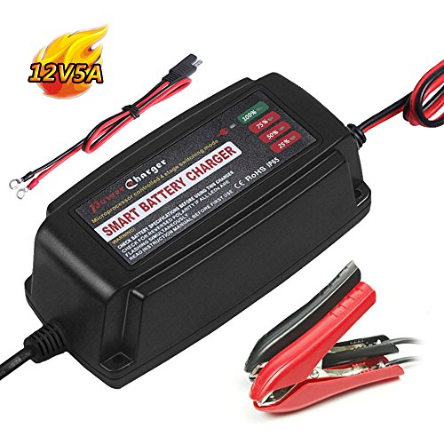 12V 5A Smart Car Battery Charger Maintainer 4-Stage CE Approved Smart Fast AGM/SLA/Gel Sealed Lead Acid Battery Charger Electric Lawn Mower or Garden