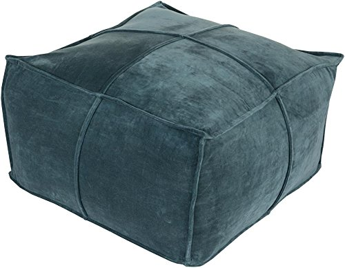 Surya CVPF-004 100-Percent Cotton Velvet Pouf, 24-Inch by 24-Inch by 13-Inch, Teal