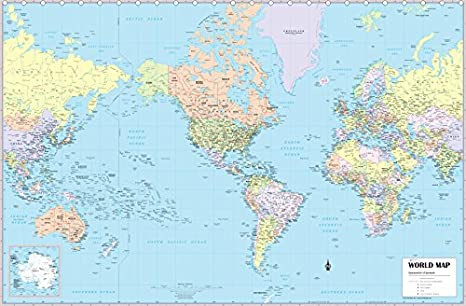 CoolOwlMaps World Wall Map, United States Center Political, Poster Size  (36\