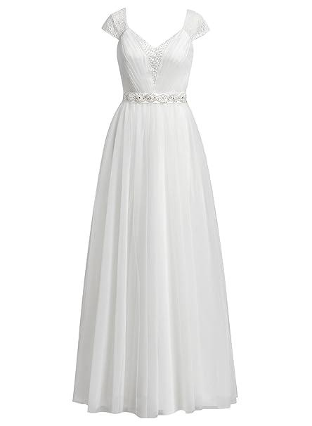 Vestido blanco largo manga corta