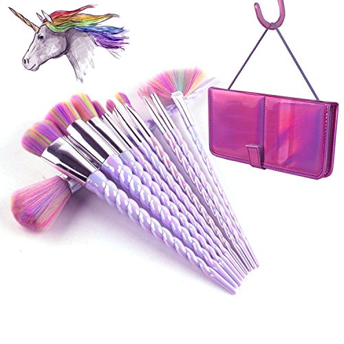 Amazon.com: QERI Unicorn Makeup Brush Set 10pcs Make Up Brushes Professional Foundation Powder Cream Blush Brush Kits: Beauty