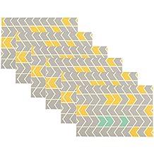 DesignOvation Chevron Gray and Yellow Photo Album, Holds 36 4x6 Photos, Set of 6