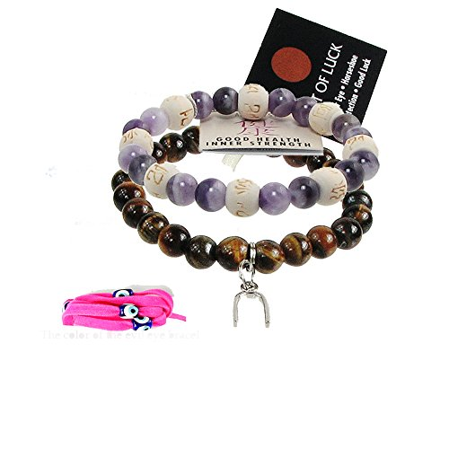 Zorbitz Inc. Bundle of 2 Karma Beads Bracelets believed to deliver Good Health and Protection. Included 36