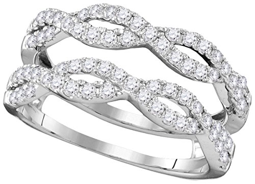 14kt White Gold Womens Round Diamond Ring Guard Wrap Solitaire Enhancer 3/4 Cttw (I1-I2 clarity; H-I color)