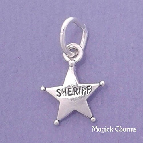 Sterling Silver SHERIFF Badge Police Officer Star Charm Miniature Jewelry Making Supply Pendant Bracelet DIY Crafting by Wholesale Charms ()