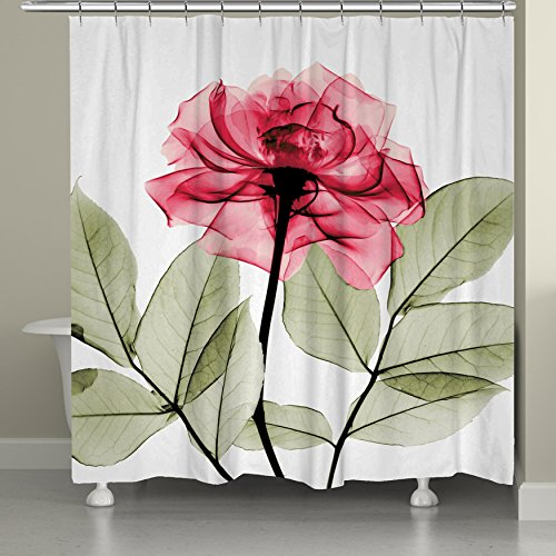 """Laural Home Rose Shower Curtain, 71"""" x 74"""", Red/Green"""