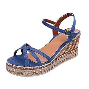 1f691d1deacc7 Amazon.com: TTbuy Thick Bottom Sandals,Women's Buckle Shallow Mouth ...