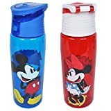 Disney 2 Pack Water Bottles Mickey & Minnie Mouse Tritan Hydro Flip Top Set Disney