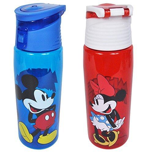 Mickey Mouse Water Bottle (Disney 2 Pack Water Bottles Mickey & Minnie Mouse Tritan Hydro Flip Top Set)