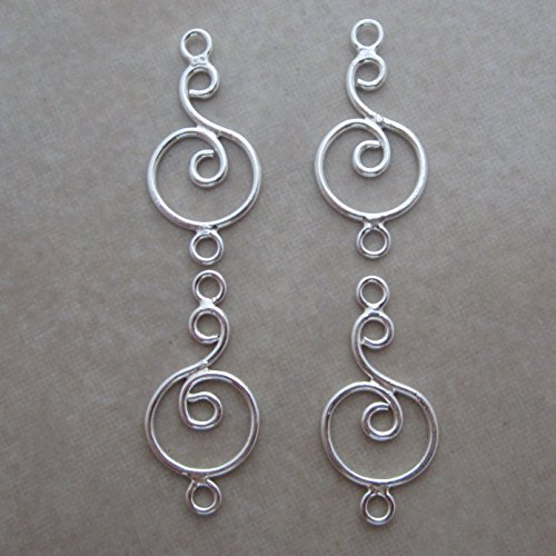 Sterling Silver Circle Connectors (4 Sterling Silver Swirl in Circle Link Connector)