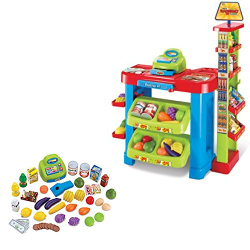 Pretend Play Kid's Supermarket Playset With 47 Piece Accessories by Tech Toys