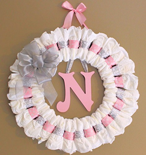 Large 24 inch Pink and Grey Diaper Wreath Baby Shower Gift]()