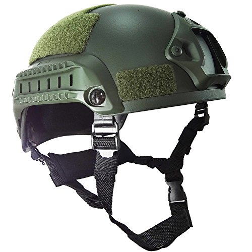 OneTigris Airsoft Paintball MICH 2001 Action Version Tactical Helmet with NVG Mount and Side Rails (OD Green)