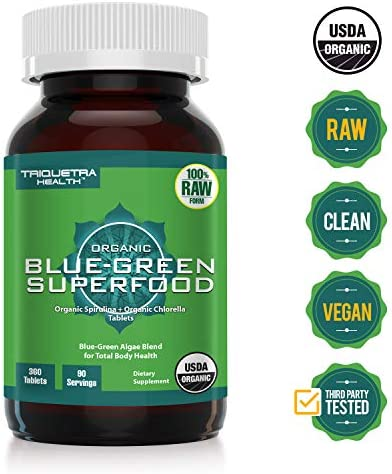 Organic Spirulina Chlorella Tablets 4 Organic Certifications, Raw, Non-Irradiated 50 50 Blue Green Algae Blend Antioxidant Content Equal to 5 Servings of Vegetables 360 Tablets