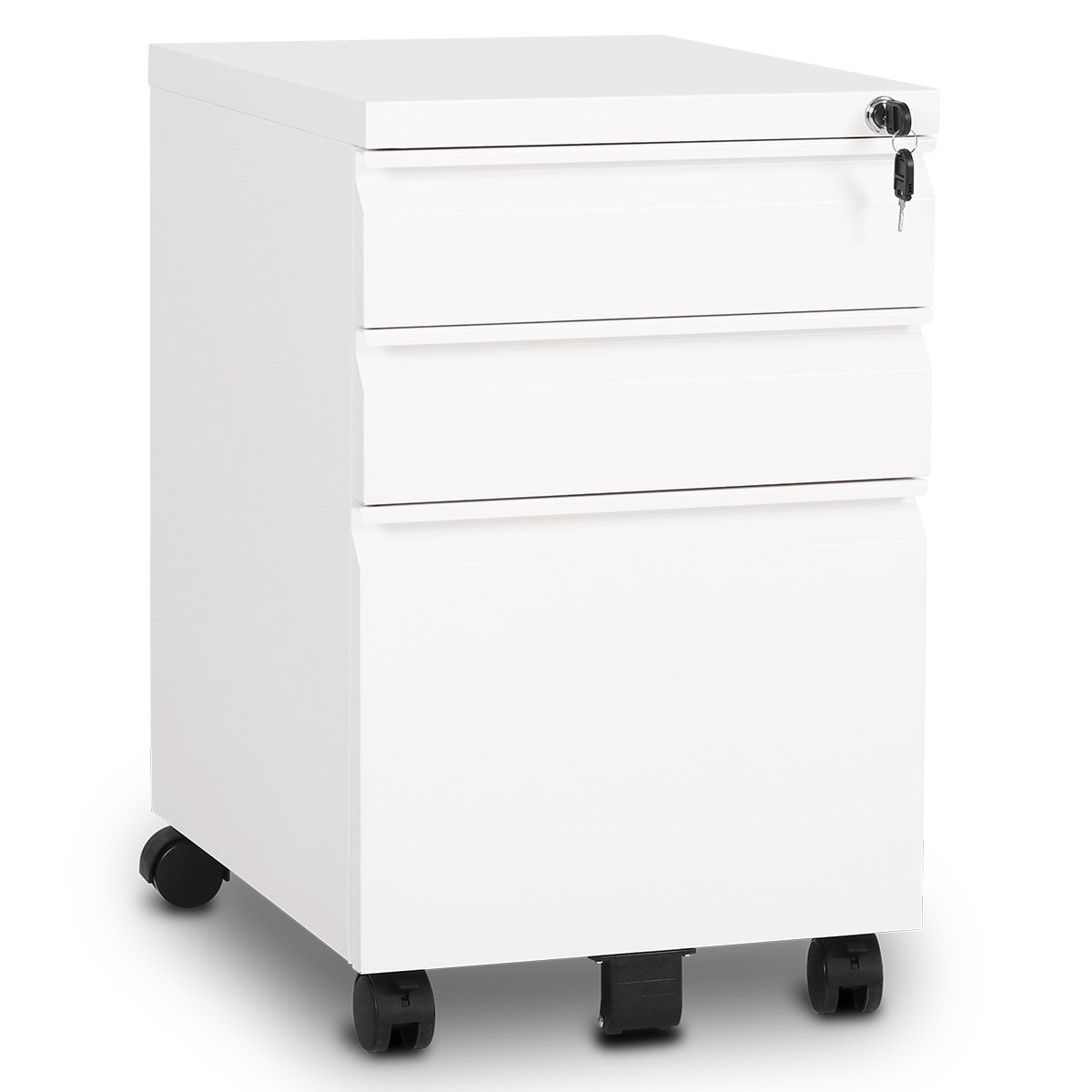 DEVAISE 3-Drawer Mobile File Cabinet with Lock Fully Assembled Except Casters,Black HUIKO988Y HTRE46GF