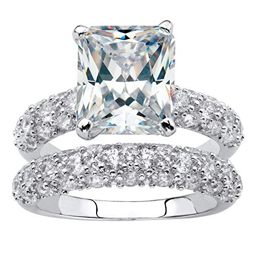 Palm Beach Jewelry Platinum-Plated Emerald Shaped Cubic Zirconia Bridal Ring Set with Round Pave Accents Size 5
