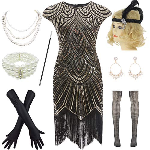 1920s Vintage Flapper Beaded Gatsby Party Dress w 20s Accessories Set (XL, Black-Gold)]()